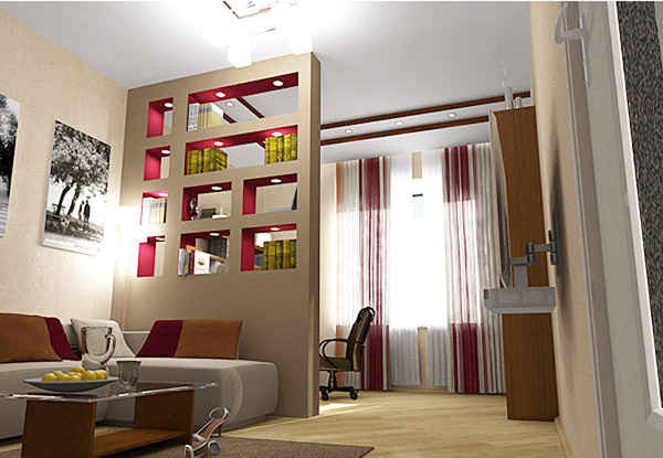 Перегородка однокомнатная квартира дизайн фото